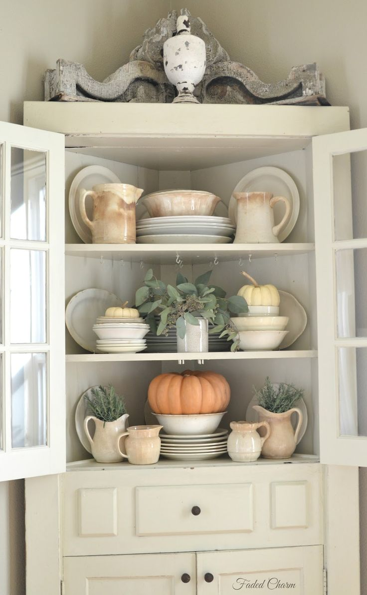 Antique kitchen corner cabinets - Faded Charm Ironstone In The Farmhouse Love This Fall Cupboard Display