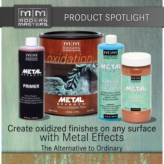 Metal Effects - combining modern-day technology and the ancient art of patinization! It's the go-to choice when creating beautiful, authentic patinas such as verdigris (pictured), rusted iron finishes and MORE! Perfect for do-it-yourself projects, high-end decorative finishes or large architectural specifications!