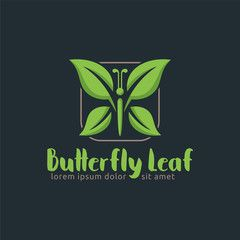 Butterfly Leaf, Leaf logo design template, easy to customize.