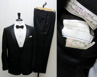Vintage 50s Black Tuxedo, Rat Pack Tuxedo, Vintage Wedding Tuxedo