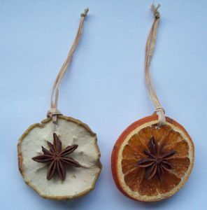 Apple & Orange Slice ornaments