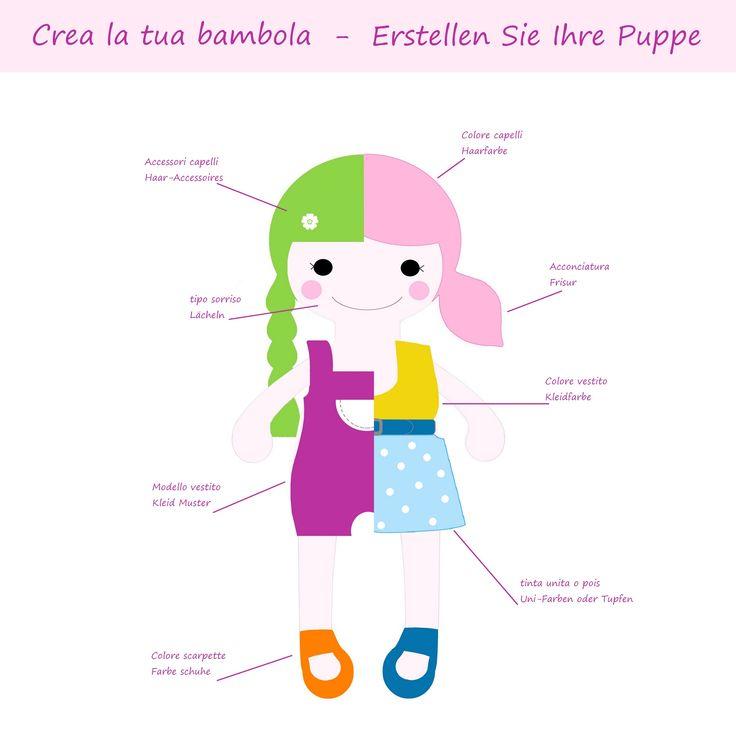 Vuoi creare la tua bambola personale? Clicca qui per scoprire come: http://it.dawanda.com/product/100605391-crea-la-tua-bambola-personalizzata - Erstellen Sie eine wunschpuppe für Ihre Prinzessin! (bambole di stoffa, bambole di pezza, bambole fatte a mano, stoffpuppen, stoffpuppe, doll, dolly)