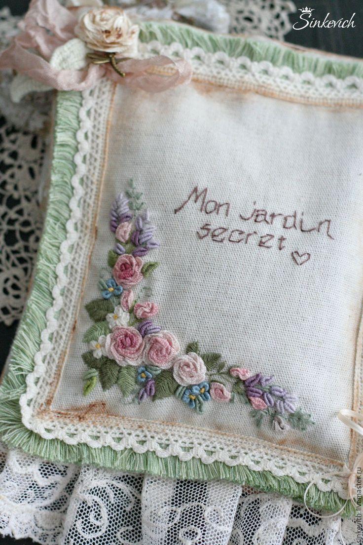 Купить Мой тайный сад...Игольничка и саше. - саше, ароматный подарок, игольница, вышивка