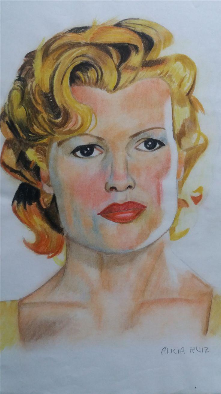 Retrato de Kim Basinger realizado a lapicero de color por Alicia Ruiz