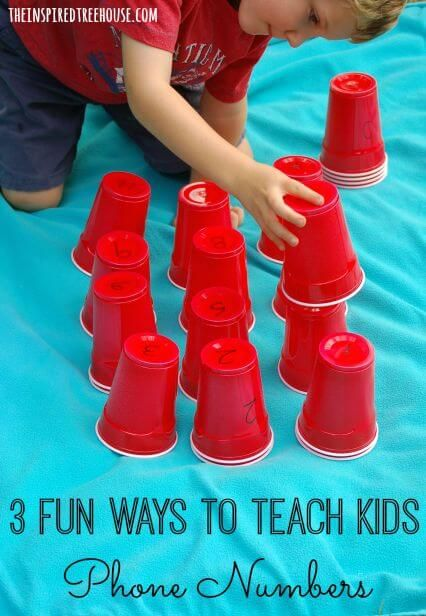 How to teach your child their phone number using disposable party cups! Fun, easy and active learning for kids!