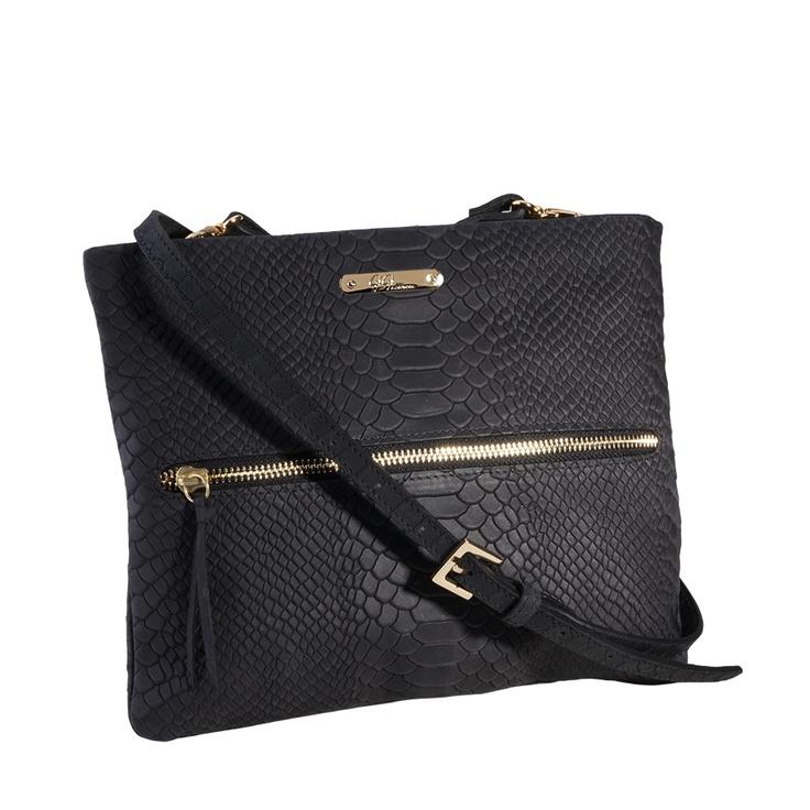 I want this bag SO bad.... @aspiringkennedy makes it look so cute! || GiGi New York Black Cross-Body Bag - Embossed Python $180.00