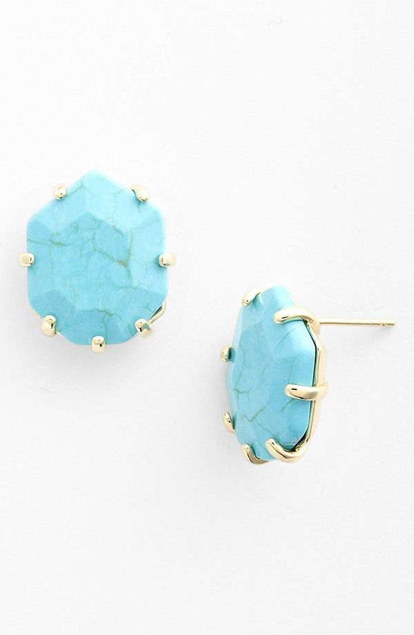Top 10 Ways To Rock Turquoise This Summer, Kendra Scott 'Morgan' Turquoise Stud Earring