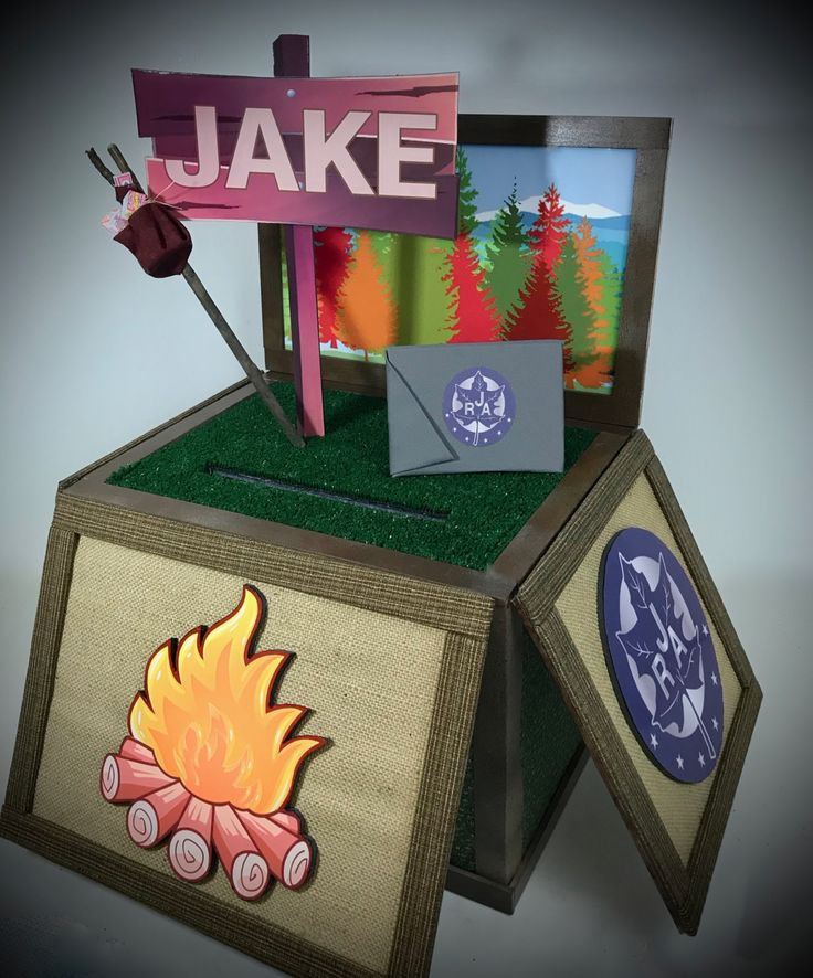 Camp gift card box camping theme party gift card boxes