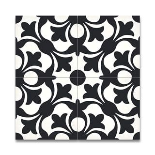 Sefrou Black and White Handmade Moroccan 8 x 8 inch Cement and Granite Floor or Wall Tile (Case of 12)
