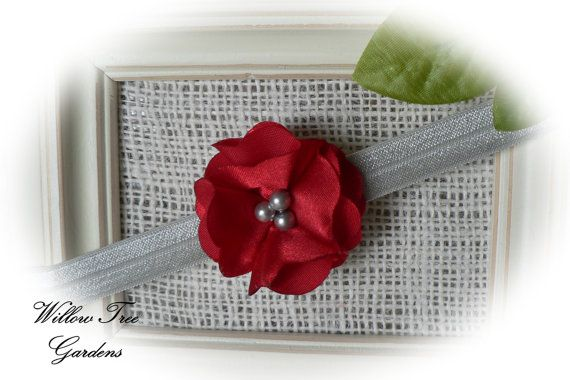 Ohio State   Red & Grey Satin Headband  by WillowTreeGardens
