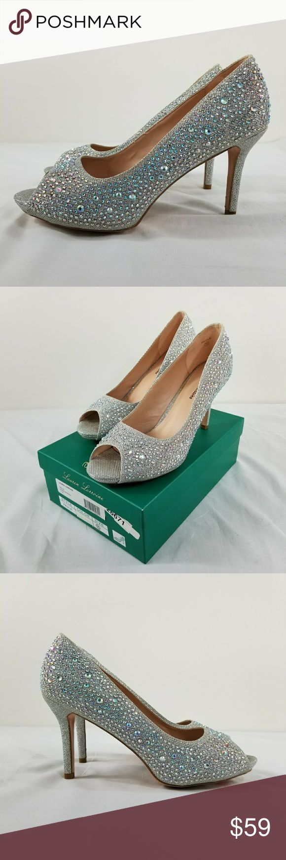 """Lauren Lorraine Open Toe Sparkle Pump Nordstrom Purchased from Nordstrom Department Store. 4"""" heel  .5"""" platform sole Fabric upper with synthetic rhinestones  Man Made Inner, Outer soles. Shoes are new, never worn. Inner arch sole area has discoloration due to shoe glue. Areas of outer rhinestone sequin sparkle have surface scratches. Lauren Lorraine Shoes Heels"""