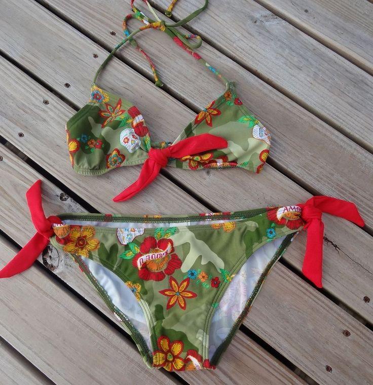 OP Camo Bikini Two Piece Swimsuit Size XS Skulls Floral Halter Top OCean Pacific #Op #Bikini #camo #skulls #halter #swimsuit #swimwear #beach #tropical #floral