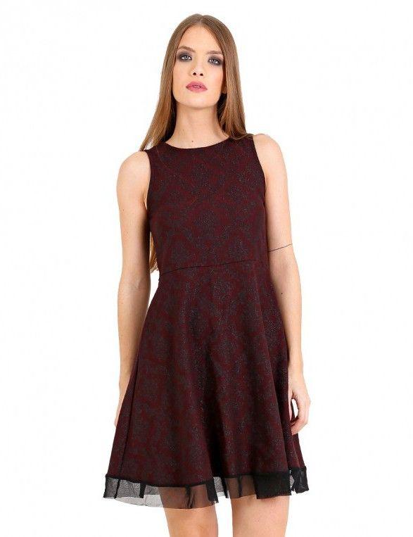 Μπαρόκ κλος φόρεμα με τούλι - Μαύρο & Κόκκινο