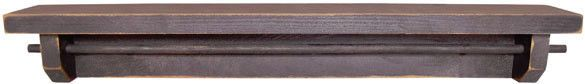 Primitive Country Farmhouse Black Wood Shelf Towel BAR Wall Holder | eBay