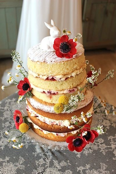 Spring inspired Victoria Sponge.  Cake and flowers by www.wildorchidweddingflowers.co.uk