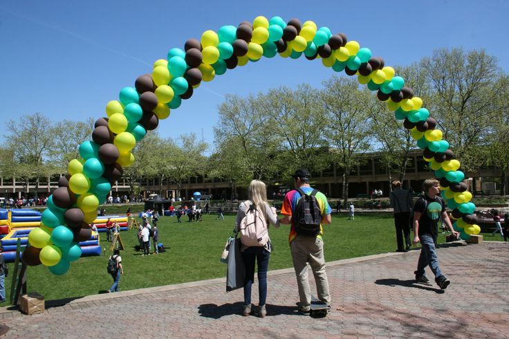 A balloon rainbow overlooking the Quad on Spring Day.