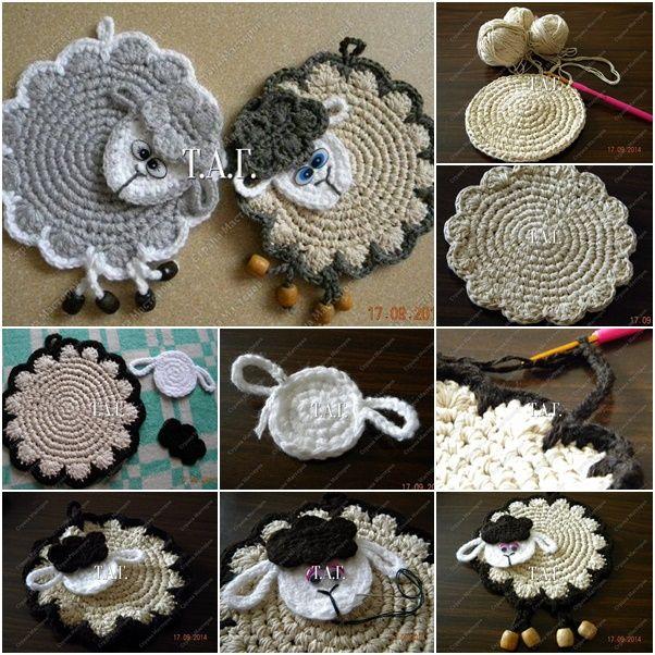 How to DIY Cute Crochet Lamb Coaster | www.FabArtDIY.com LIKE Us on Facebook ==> https://www.facebook.com/FabArtDIY