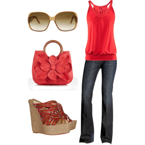 Cute spring/summer outfit: Shoes, Summer Looks, Summer Outfit, Style, Color, Cute Outfit, Red Outfit, Spring Outfit, Bags