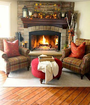 Family Room corner stone fireplace with plaid Bassett chairs www.goldenboysandme.com