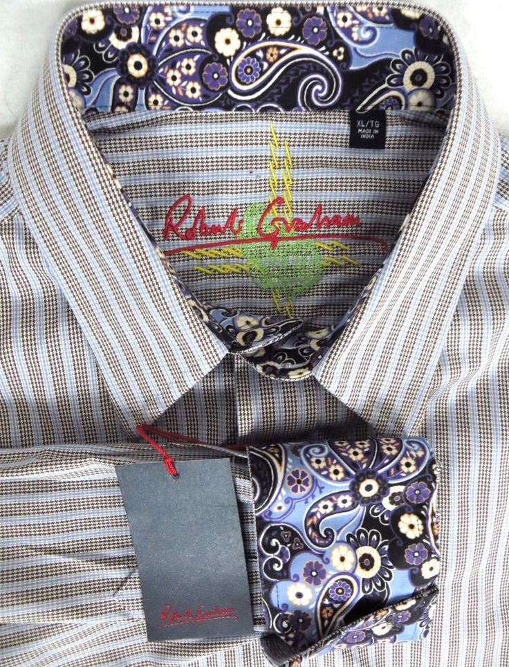 Robert Graham Surge Shirt NEW XL Striped Houndstooth $220 Floral Flip Cuffs NWT #RobertGraham #ButtonFront