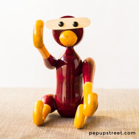 Painted Wooden Hanging Monkey Violet Price: $19.99, Free Shipping #uniquegift #handmade #etsy #india #woodentoy #quirkygift