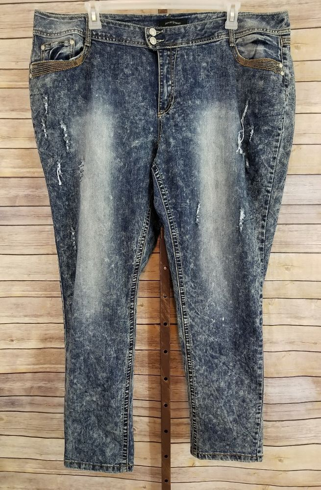 f5ce3bf5cce Ashley Stewart Womens Plus Size 24 Acid Wash Ripped Destroyed Skinny Blue  Jeans