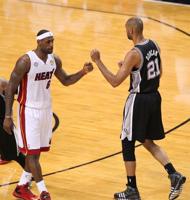 LeBron and Tim Duncan showing mutual respect before Game 1 of the 2013 Finals.