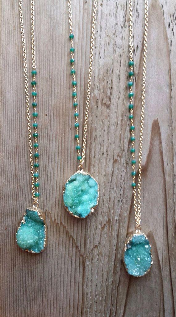 Emerald Green Druzy Necklaces with Green Onyx Stone by joydravecky