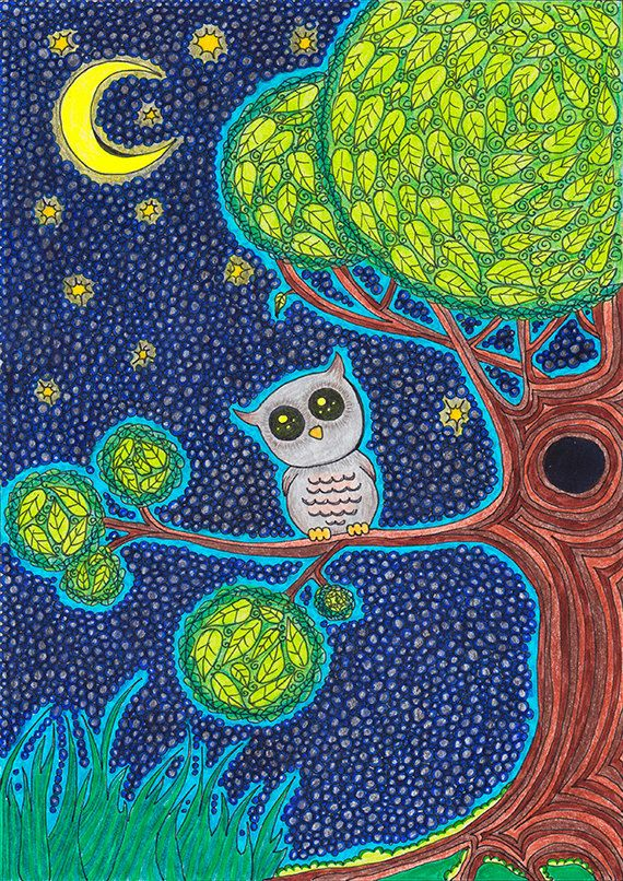 Original Childrens Drawing  Lovely Owl  8.5x12 by EnchantedCrayons, $15.00