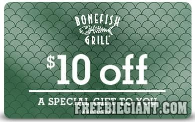 $10 Off Your Order at Bonefish Grill-Printable Offer - http://freebiegiant.com/10-off-your-order-at-bonefish-grill-printable-offer/ You can get $10 off your entire check at Bonefish Grill, but you must be a US resident to get this offer.  If you would like to get your $10 off Bonefish Grill coupon, you can click here to print. This is an offer for select US cities only, and you can only use one $10 coupon per transaction....