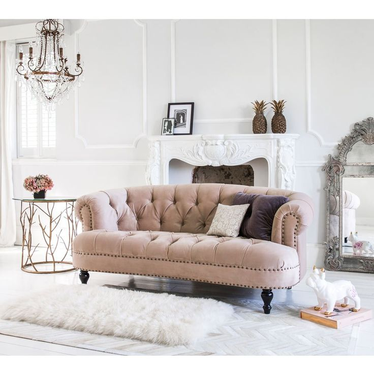 Brought to you by The French Bedroom Company: Encompassing all that is stylishly romantic, our beautiful blush pink, chesterfield style sofa is perfect for both classical interiors and bohemian designed rooms.