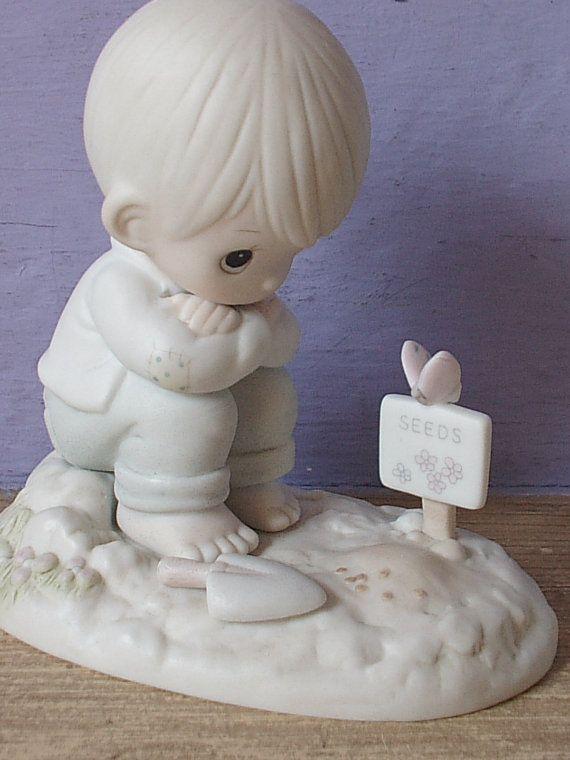vintage Precious Moments figurine In His Time, 1987, cedar tree mark, boy gardener, religious figurine, nursery bedroom decor