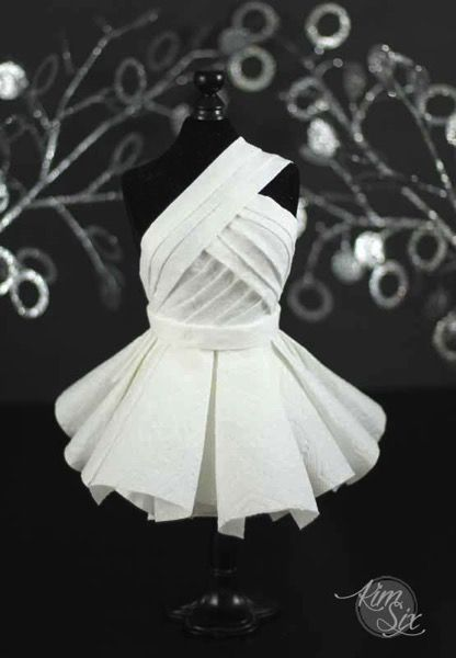 Red Carpet Worthy Haute Couture Dress From Unconventional Materials via TheKimSixFix.com