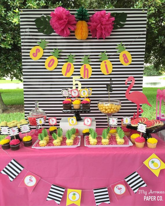 Hey, I found this really awesome Etsy listing at https://www.etsy.com/listing/398809945/pineapple-and-pink-flamingo-party