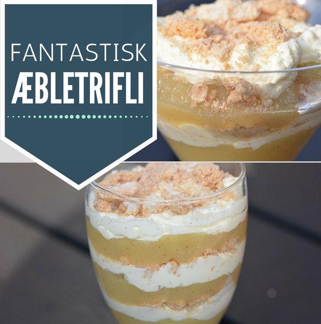 Intet mindre end fantastisk æbletrifli med æblemos, knuste makroner og dejlig vaniljecreme.