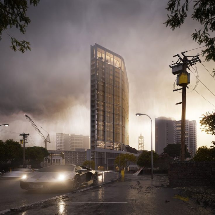 Richard Keep and Henry Goss unveil plans for Nairobi tower in rainy renderings by The Boundary (Goss & Peter Guthrie)