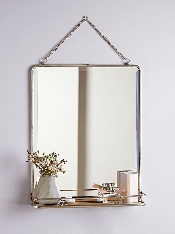 A larger version of our bestselling French Folding Mirror ; this mirror includes a delicate bevelled edge, chain for hanging and a foldaway shelf. Our large mirror will add a touch of French style to your bedroom or bathroom.