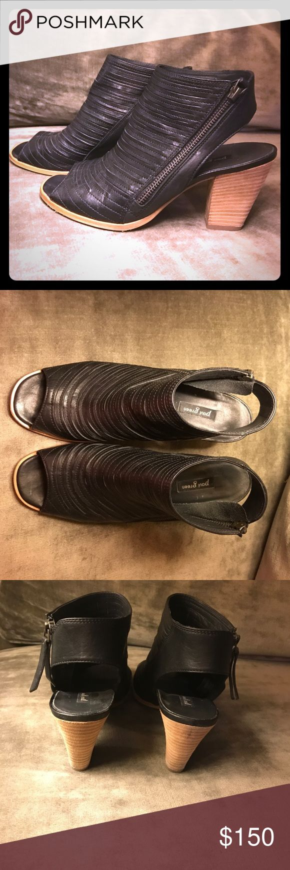 Paul Green black leather booties/sandals Awesome Paul Green black leather booties in size 9.  In great condition! A must have! Paul Green Shoes Heels