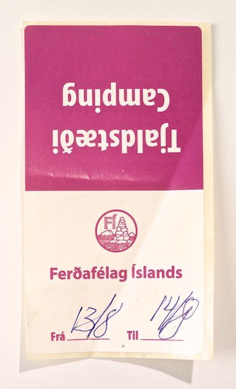 Icelandic camping tags.