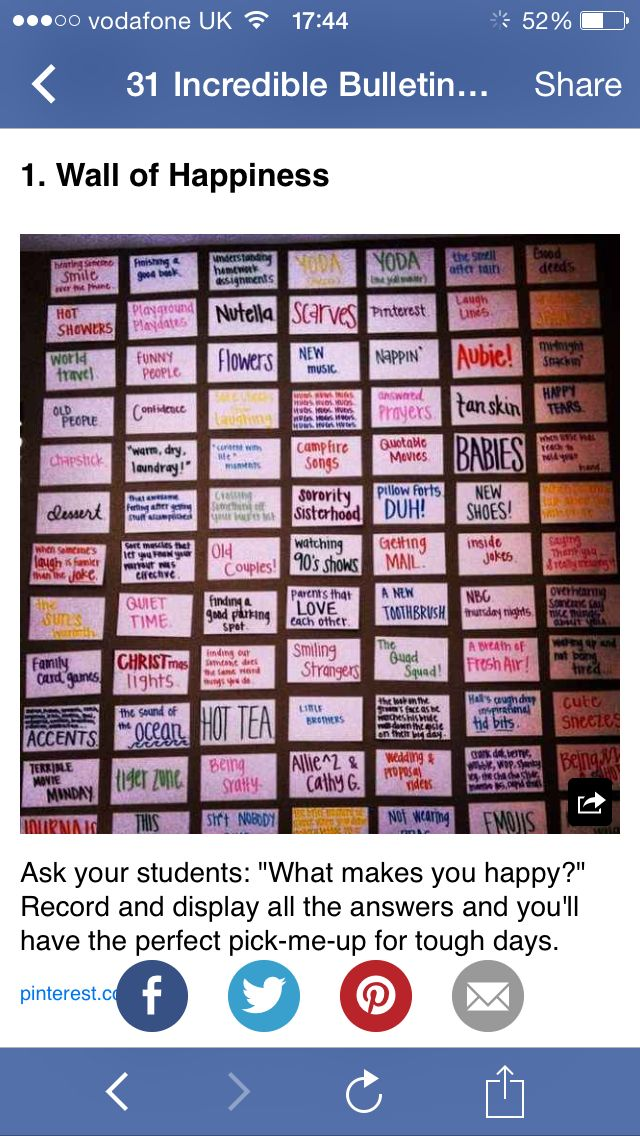 Wall of Happiness. Ask students what makes them happy on the first day of school.