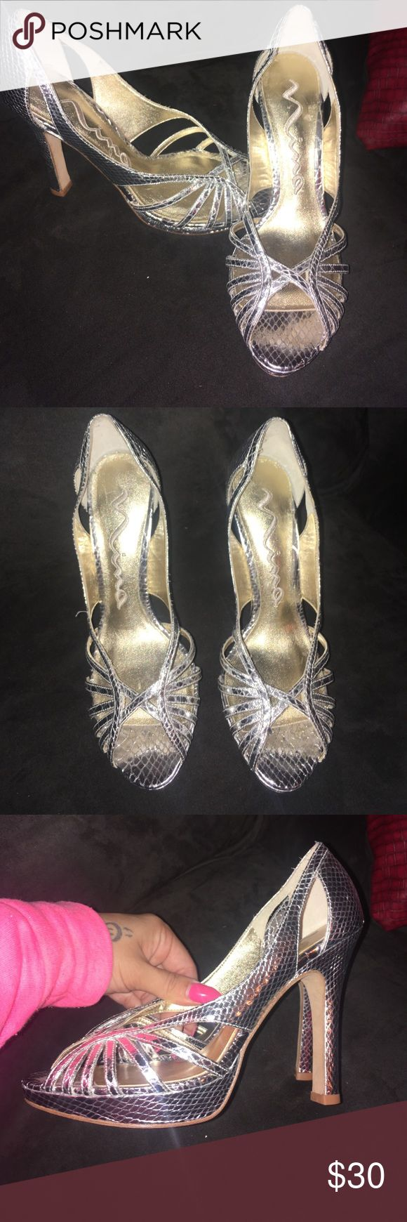 Silver heels Silver Nina heels cute for prom or dinner Nina Shoes Heels