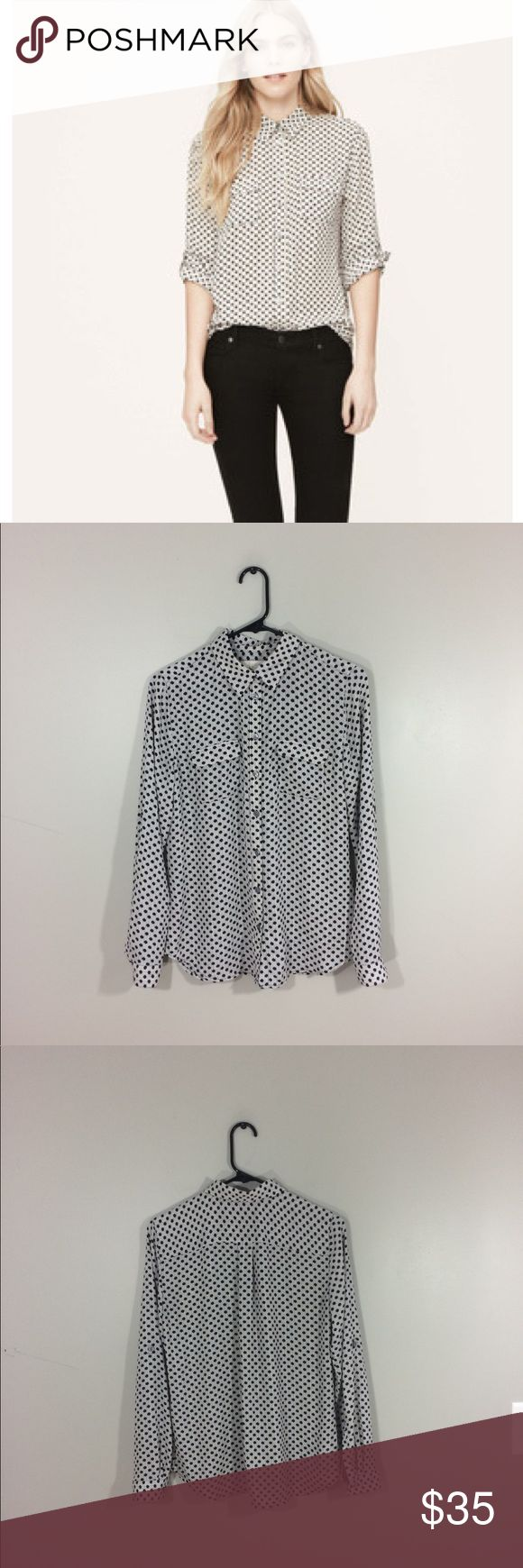 """Loft Polka Dot Stripe Utility Button Up Top No holes or stains. Has black polka dots with brown stripes. Slightly sheer, but is mostly opaque. Has buttons on elbows so the sleeves can be rolled up. 100% polyester. 25"""" length: 19"""" Pit to pit: no trades. LOFT Tops Button Down Shirts"""