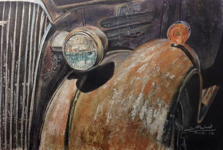 Rusty Auto - My pastels drawing of an old rusty Chevrolet.