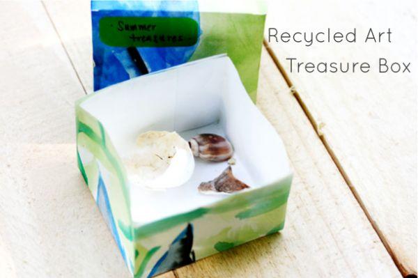 kids art into kids origami boxes: Art Treasure, Plays Learning, Art Recycled, Origami Boxes, Treasure Boxes, Kids Origami, Kids Art, Recycled Art, Gifts Boxes