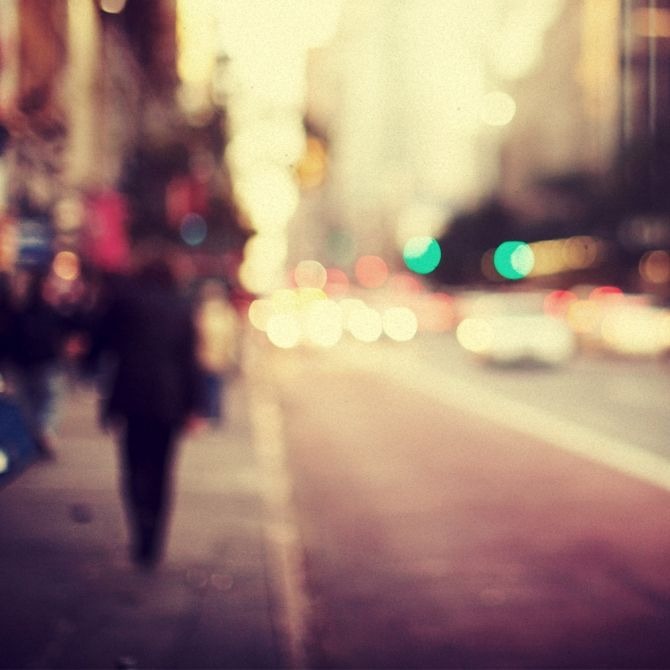 Trever Hoehne- I love blurry-bokeh- and street photography.  This is everything in one photo