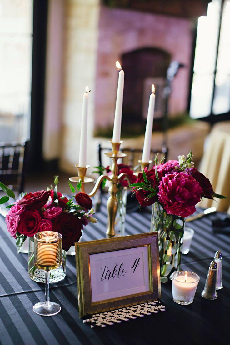 Sangria Wedding Flowers Candle Centerpiece Simple