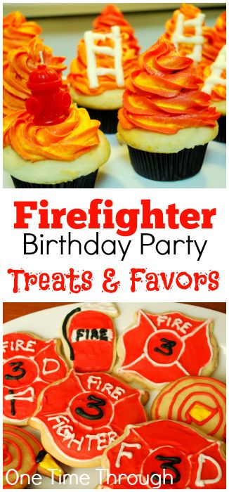 Awesome FireFighter themed TREATS! Perfect for Birthday Parties and celebrating National Fire Prevention Week (Oct 5-11, 2014, US) Cookies, Cupcakes and Favour Ideas! {One Time Through}