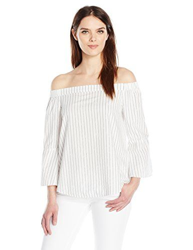 Calvin Klein Jeans Women's Off the Shoulder Stripe Top - http://www.darrenblogs.com/2017/03/calvin-klein-jeans-womens-off-the-shoulder-stripe-top/