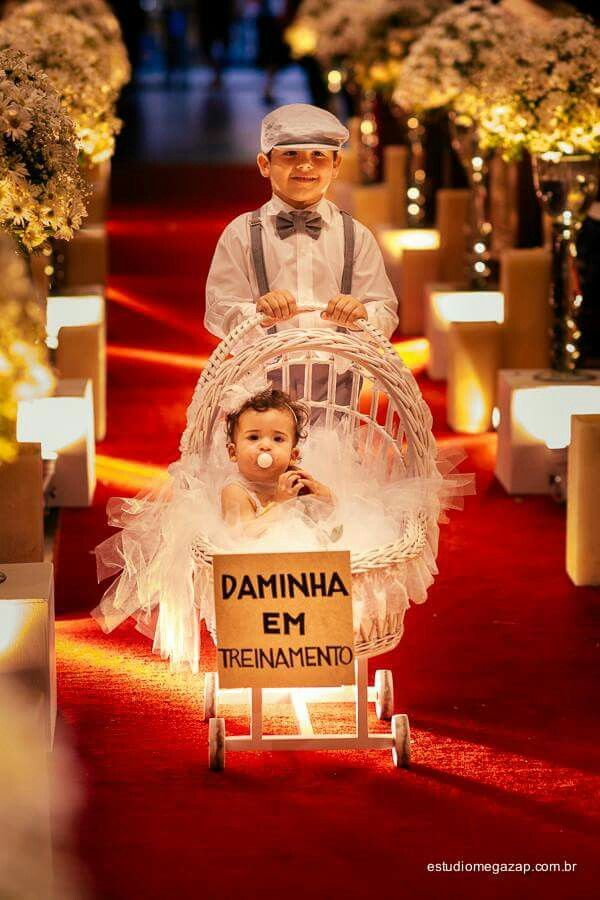 When the flower girl is a wee thing hehe Or could totally do this without any gender roles. Depends on the children