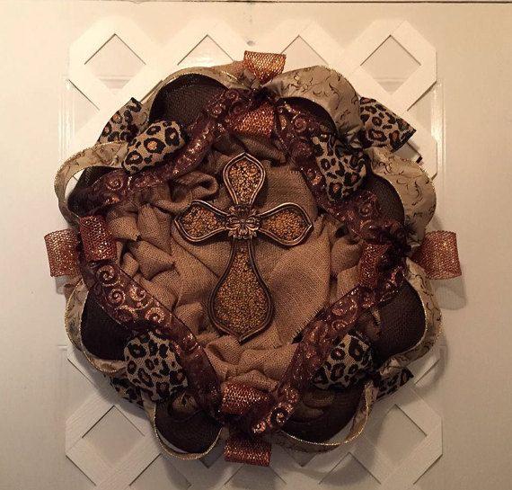 Leopard Burlap Wreath  Burlap Cross Wreath by ElsiesCreativeDesign